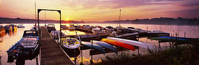Boats In A Lake At Sunset, Lake Poster