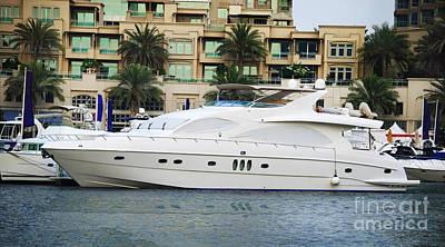 Boats In Dubai Marina Poster