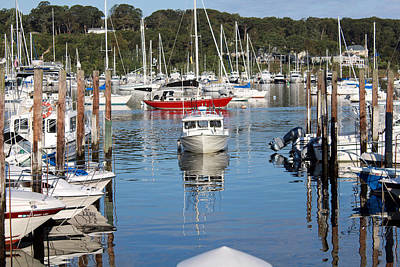 Boats In Huntington Harbor Poster