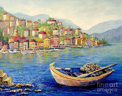 Boats In Italy Poster by Lou Ann Bagnall
