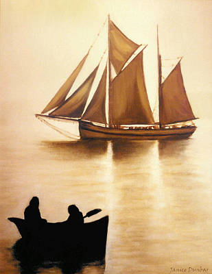 Boats In Sun Light Poster by Janice Dunbar