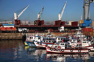 Boats In Valparaiso Poster