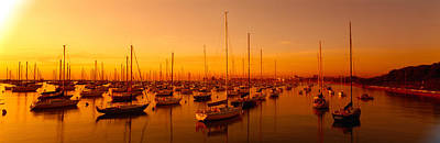 Boats Moored At A Harbor At Dusk Poster by Panoramic Images