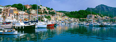 Boats Moored At A Harbor, Majorca Poster by Panoramic Images