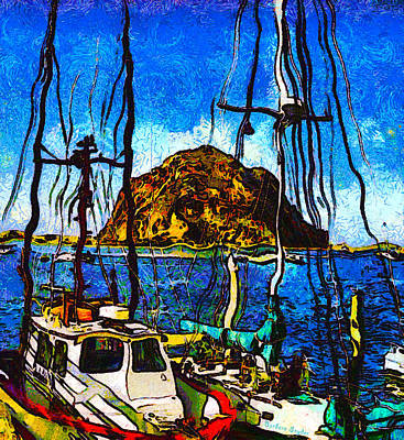 Boats Of Morro Bay Poster by Barbara Snyder