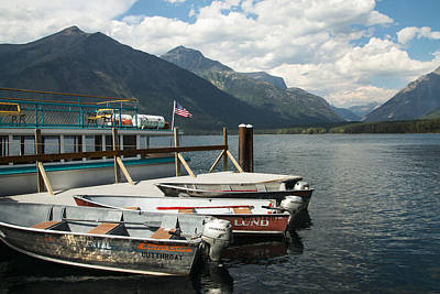 Boats On Lake Mcdonald Poster by Nina Prommer