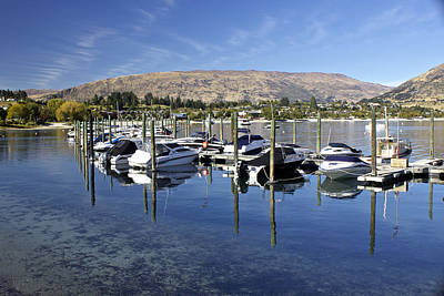 Boats On Lake Wanaka Poster by Venetia Featherstone-Witty