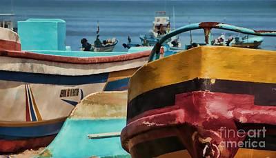 Boats On The Beach - Puerto Lopez - Ecuador Poster