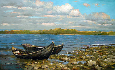 Poster featuring the painting Boats On The River by Dmitry Spiros