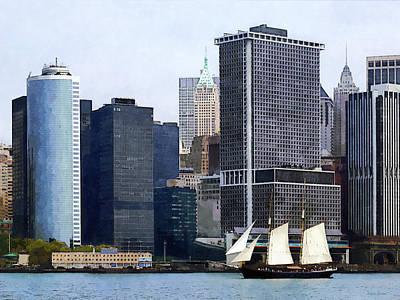 Boats - Schooner Against The Manhattan Skyline Poster by Susan Savad