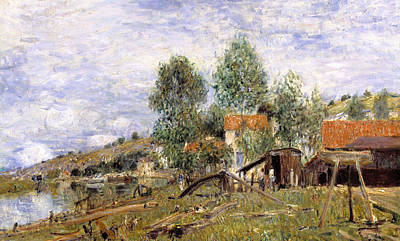 Boatyard At Saint-mammes Poster by Alfred Sisley