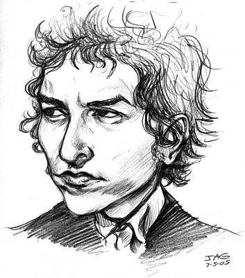 Poster featuring the drawing Bob Dylan Sketch Portrait by John Ashton Golden