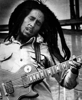 Bob Marley Playing Guitar Poster