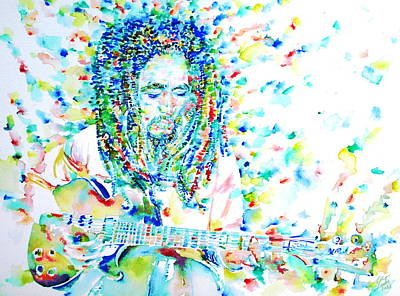 Bob Marley Playing The Guitar - Watercolor Portarit Poster by Fabrizio Cassetta