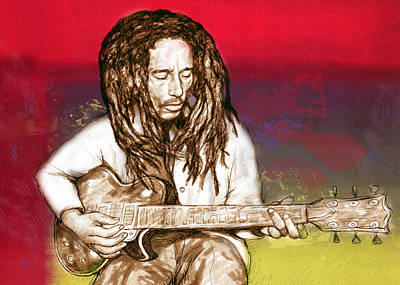Bob Marley - Stylised Drawing Art Poster Poster