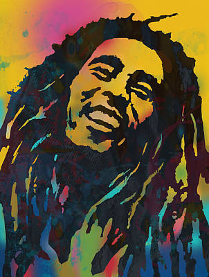 Bob Marley Stylised Etching Pop Art Drawing Potrait Poser Poster by Kim Wang