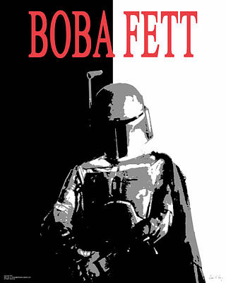 Poster featuring the digital art Boba Fett- Gangster by Dale Loos Jr