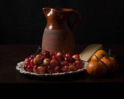 Bodegon With Cherries-oranges And Cheese Poster