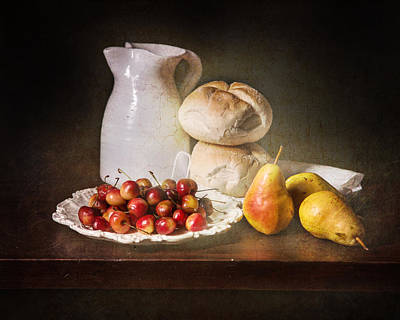 Bodegon With Cherries-pears-white Jar Poster