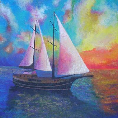 Poster featuring the painting Bodrum Gulet Cruise by Tracey Harrington-Simpson