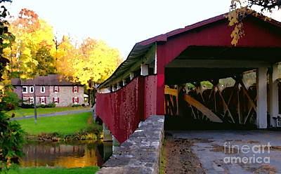 Poster featuring the photograph Bogerts Covered Bridge Allentown Pa by Jacqueline M Lewis