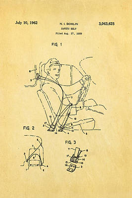 Bohlin Seatbelt Patent Art 1962 Poster by Ian Monk