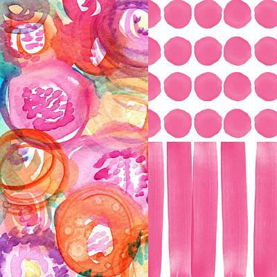 Boho Flower Patchwork- Watercolor Art Poster