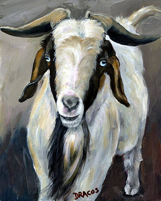 Bohr Goat With Blue Eyes Poster by Dottie Dracos