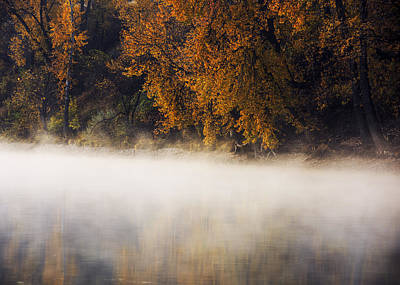 Boise River Autumn Foggy Morning Poster by Vishwanath Bhat