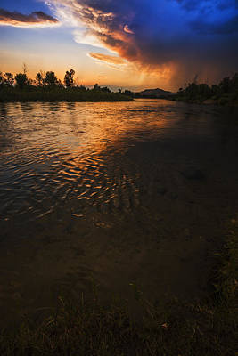 Boise River Dramatic Sunset Poster by Vishwanath Bhat