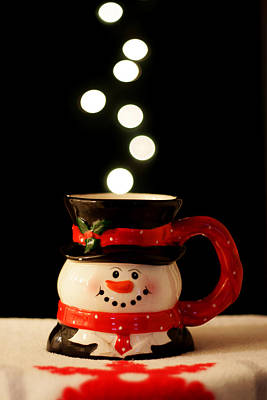 Poster featuring the photograph Bokeh Fun With Snowman Mug by Barbara West