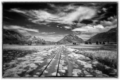 Bolivia Train Tracks Black And White Poster