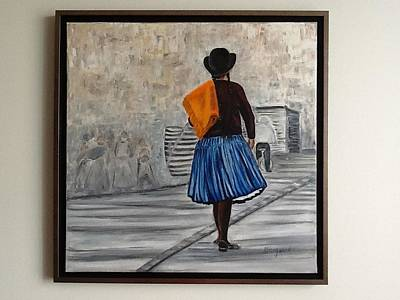 Bolivian Chola In Blue Skirt Poster