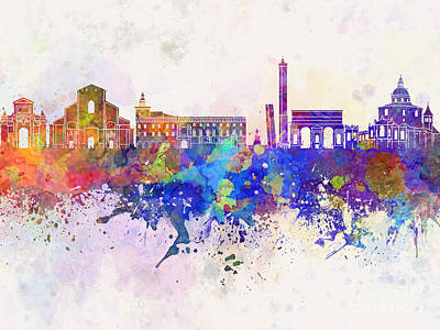 Bologna Skyline In Watercolor Background Poster by Pablo Romero
