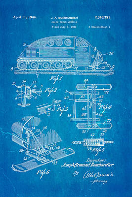 Bombardier Chain Tread Vehicle Patent Art 1944 Blueprint Poster
