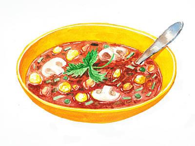 Bon Appetit A Bowl Of Soup Poster by Irina Sztukowski