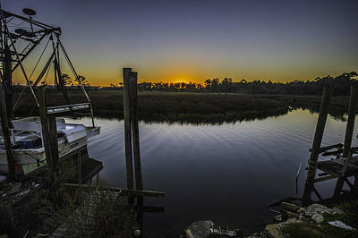 Bon Secour Sunset At Fishery Poster