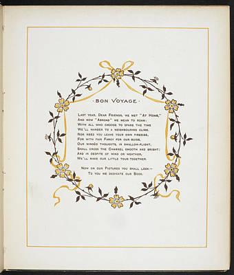 Bon Voyage. A Verse And Dedication Poster