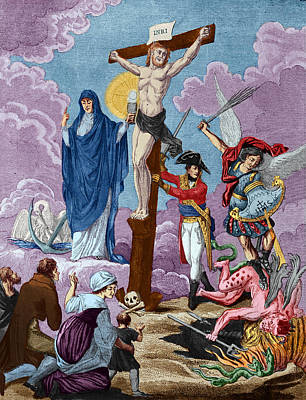 Bonaparte, Restorer Of Religion And Supporting The Cross, Allegory On The Concordat, 1802 Coloured Poster