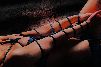Bondage Shibari Red Orange Impressionism Poster by Rod Meier