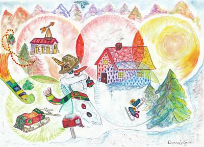 Bonnefemme De Neige / Snow Woman Poster by Dominique Fortier