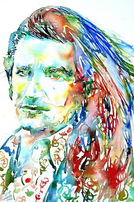 Bono Watercolor Portrait.2 Poster by Fabrizio Cassetta