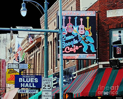 Boogie On Beale St Memphis Tn Poster