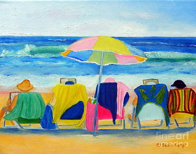 Book Club On The Beach Poster by Shelia Kempf