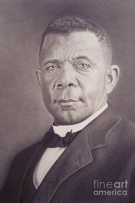 Poster featuring the drawing Booker T Washington by Wil Golden