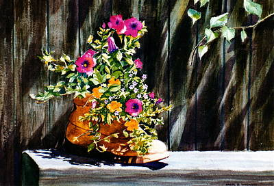 Poster featuring the painting Boot Bouquet by Karol Wyckoff