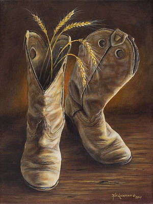 Poster featuring the painting Boots And Wheat by Kim Lockman