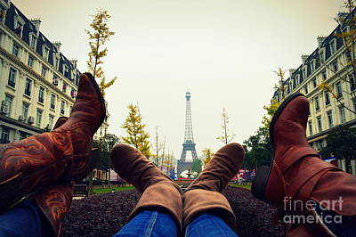 Boots In Paris Poster by Shawna Gibson