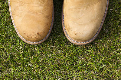 Boots On Grass Poster