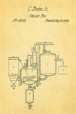 Borden Condensed Milk Patent Art 1856 Poster